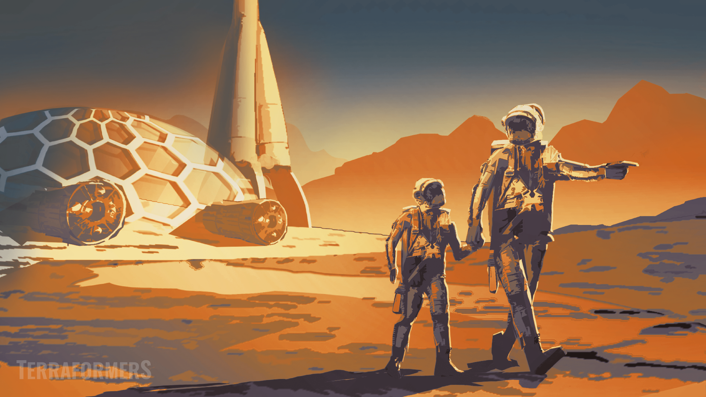 Dome city on Mars, with a girl an her father in martian space suits.