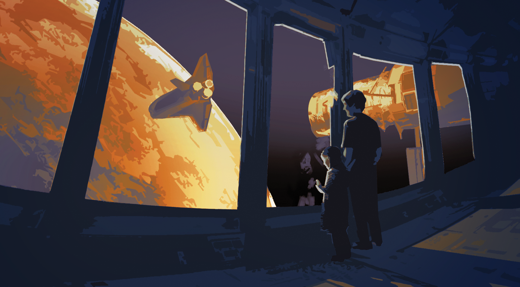 A girl an her father are in a big spaceship, looking down at Mars.